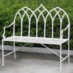 Gothic metal garden bench