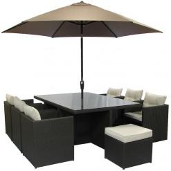 Brazilia 8 Seater Cube Black Wicker Garden Furniture Set