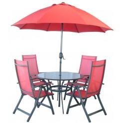 Royalcraft Vito Red Aluminium Garden Furniture Set - 4 Seater
