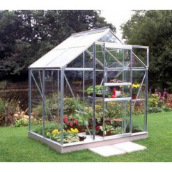 Halls Popular 4x6 Greenhouse Silver Aluminium