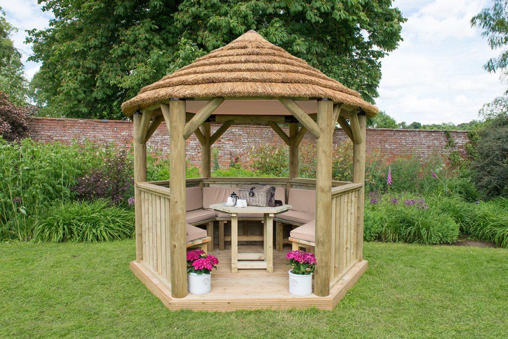 Table, Benches and Cushions for 3m Hexagonal Garden Gazebo - Cream
