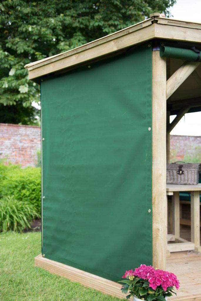 Set of 6 Curtains for 3m Hexagonal Garden Gazebo - Green