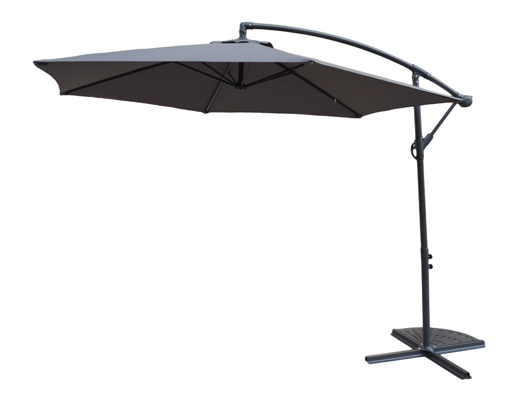 Royalcraft Standard Grey Cantilever 3m Parasol with Cross Stand