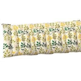 Bird Leaf Green/Yellow/Cream Bench Cushion