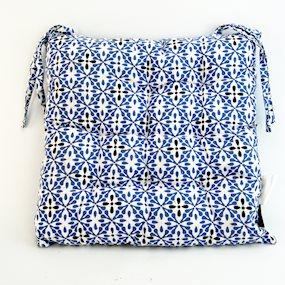 Pair of Blue Geometric Seat Pads