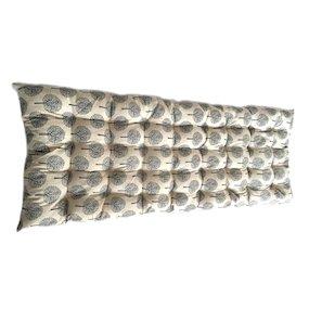 Cream and Blue Tree Bench Cushion