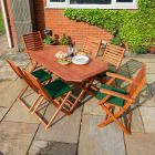 Rowlinson Plumley 6-Seater Hardwood Dining Set Green Cushions and Green Parasol