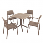 Clip Turtle Dove Dining Table with 4 Bora Chairs