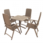 Clip Turtle Dove Dining Table with 4 Darsena Chairs