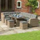 Thornbury Corner Natural Weave Rattan Dining Set