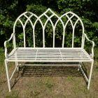 Gothic Metal Garden Bench Cream