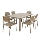 Libeccio Turtle Dove Table with 6 Bora Chairs