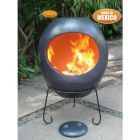 Gardeco Ellipse Extra Large Mexican Clay Chiminea Grey