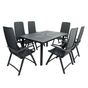 Libeccio Anthracite Dining Table with 6 Darsena Chairs