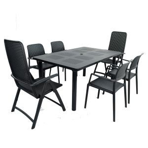 Libeccio Anthracite Dining Table with 2 Darsena and 4 Bora Chairs