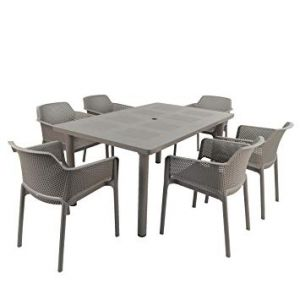 Libeccio Turtle Dove Dining Table with 6 Net Chairs
