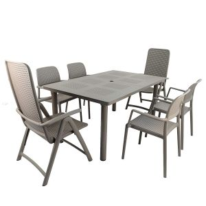 Libeccio Turtle Dove Dining Table with 2 Darsena and 4 Bora Chairs