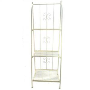 3-Tier Cream Metal Folding Shelves