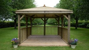 Forest 3.5m Square Timber Roof Gazebo With Base