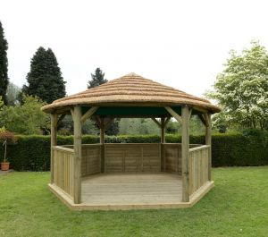 Forest 4.7m Hexagonal Wooden Thatched Roof Gazebo with Green Roof Lining