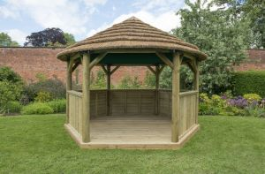 Forest 4m Hexagonal Wooden Thatched Roof Gazebo with Green Roof Lining