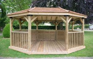Forest 5.1m Premium Oval Cedar Roof Gazebo