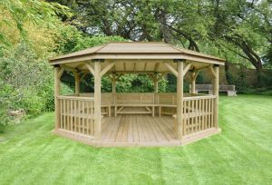 Forest 5.1m Premium Oval Timber Roof Gazebo with Benches