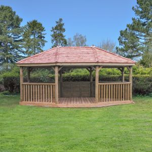 Forest 6m Premium Oval Cedar Roof Gazebo (see smaller photos for details of benches)
