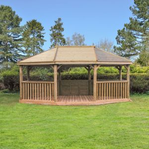 Forest 6m Premium Oval Timber Roof Gazebo with benches