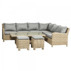 Royalcraft Wentworth Deluxe Modular Rattan Sofa Dining Set with Adjustable Table