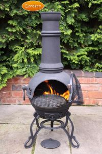 Gardeco Toledo Large Black Cast Iron Chiminea with BBQ Grill