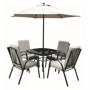 Royalcraft Amalfi Ivory 4 Seater Dining Set with Parasol