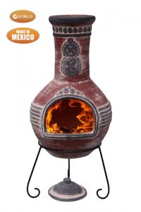 Gardeco Azteca Extra Large Mexican Clay Chiminea Red and Grey