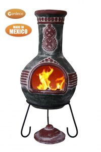 Gardeco Azteca Extra Large Mexican Clay Chiminea Green and Red