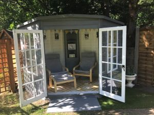 Shire Hampton Corner Summerhouse 8x8 (not supplied painted) - customer photo - thank you Becks!