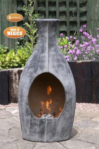 Gardeco Botella Mexican Contemporary Chiminea Medium Charcoal Grey