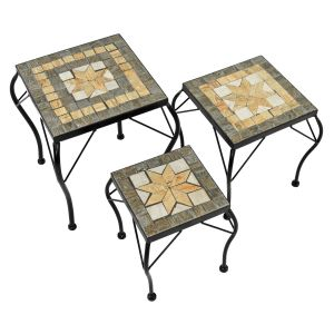 Brava Set of 3 Low Square Plant Stands/Side Tables