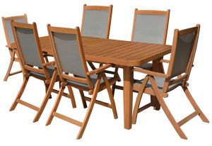 Royalcraft Broadway Dining Set with 6 Henley Textilene Armchairs