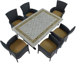Burlington Dining Table with 6 Stockholm Brown Chairs