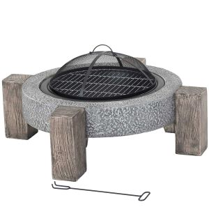 Lifestyle Calida MGO Contemporary Round Firepit with Grill