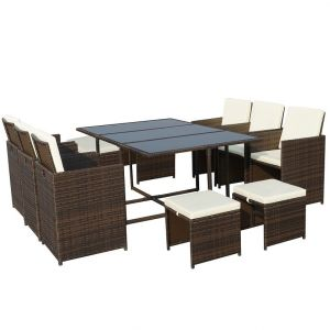 Royalcraft Cannes Brown 10-Seater Cube Set