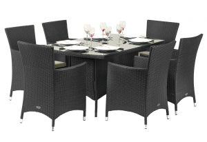 Royalcraft Cannes Ebony Black Rattan 6 Seater Rectangular Dining Set