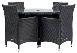Royalcraft Cannes 4 Seater Round Dining Set Black