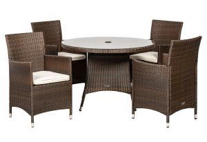 Royalcraft Cannes Mocha Brown Rattan 4 Seater Dining Set