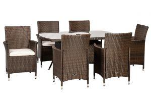 Royalcraft Cannes Mocha Brown Rattan 6 Seater Rectangular Dining Set