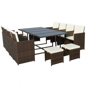 Royalcraft Cannes Brown 12-Seater Cube Set