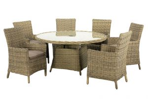 Royalcraft Wentworth Rattan Round 6 Seater Carver Dining Set