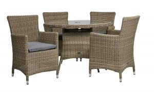 Royalcraft Wentworth Rattan Round 4 Seater Carver Dining Set