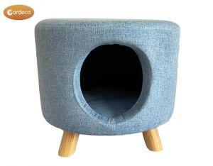 Gardeco Round Cat House Linen Footstool