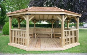 Forest 5.1m Premium Oval Cedar Roof Gazebo with Benches